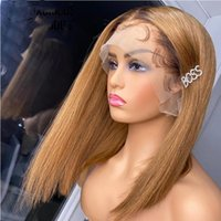 Synthetic Wigs Glueless Preplucked 1B30 Ombre Blonde Straight Color Short Bob WIg Lace Front For Women With Baby Hairb