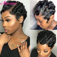 짧은 pixie 잘라낸 인간의 머리 가발 정말 귀여운 손가락 파도 헤어 스타일 흑인 여성을위한 완전 기계 가발 Perruque Cheveux