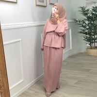Ethnic Clothing Ramadan Eid Mubarak Abaya Dubai Turkey Hijab Dress Muslim Sets For Women Islamic Robe Arabe Ensemble Femme Musulmane