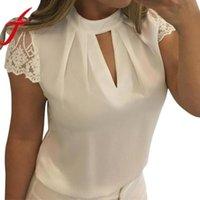 Женские блузки Рубашки VVTS Женщины Сексуальные Летние Повседневные Полые Шифон Короткие Рукава Сращивание Кружева Кружева Топы Блузка Blusas Mujer de Moda Plus Размер