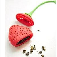 Diseño de frutas Encantador de fresa Forma de té Infusor de té de grado alimenticio Silicone Silicone Straderer para perder hoja LLE7293