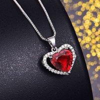 HBP قصيدة الحلو القلب متعدد الألوان سبعة لون قلادة جوفاء مايكرو مطعمة قلادة الماس مزاجه أزياء بسيطة