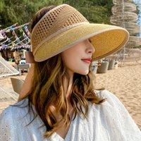 HT3050 Palha Mulheres Verão Senhoras Senhoras Ajustável Fita Boné Respirável Brim Brim Beach Feminino Sun Visor Hat Y0223