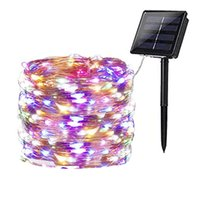 Festoon Luces de hadas Luz solar String Light para Navidad Decoración de la boda Calle Guirnalda 150 LED 200 LED Cable de cobre Lámpara de jardín
