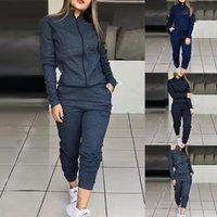 İki Parça Elbise Kadın Spor Eşofman Setleri Rahat Uzun Kollu Katı Ceket Ve Elastik Bel Pantolon 2021 Sonbahar Moda 2 Sportwears