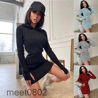Moda 2021 outono e inverno mulheres vestido de cor sólida algodão com capuz manga longa saia curta A7909