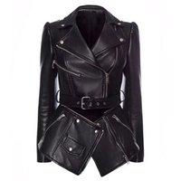 QUALITY Newest Stylish Runway 2021 Designer Jacket Women's Lacing Belt Removable Zippers Synthetic Leather Jacket Coat