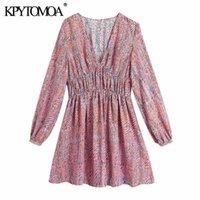 Casual Dresses KPYTOMOA Women 2021 Fashion With Gathered Printed Mini Dress Vintage Long Sleeve Elastic Waist Female Mujer