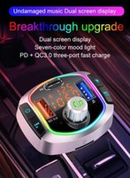 BC63 분위기 조명 자동차 FM 송신기 블루투스 자동차 듀얼 USB 충전기 PD 충전기 FM 송신기 무선 MP3 라디오 어댑터 QC3.0