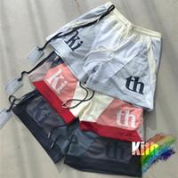 2021SS Kith Kith Mesh Shorts Hombres Mujeres 1: 1 Patchwork de alta calidad de gran tamaño Trazador transpirable L0221