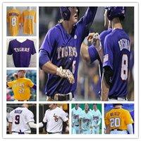 Lsu tigres faculdade beisebol costurado jersey cws dj lemahieu alex bregman nola gausman aaron hill personalizado camisas roxo amarelo branco