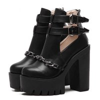 Newdiscvr Autumn Fashion Ankle Boots for Women High Heels Casual Cut-outs Buckle Round Toe Chain Thick Platform Shoes