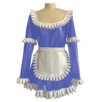 Casual Dresses Women Sissy Costume Maid Outfit PVC Lolita Dress Halloween Vinyl Long Puff Sleeve Servant Uniform Flared With Apron