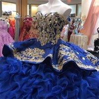 Kraliyet Mavi Quinceanera Elbiseler 2021 Cascading Ruffles Nakış Boncuklu Katmanlı Saten Sevgiliye Boyun Çizgisi Tatlı 16 Prenses Balo Vestido