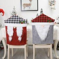 عيد كرسي غطاء سانتا كلوز قبعة يغطي غرفة الطعام ديكور عيد الميلاد لينة تمتد مقعد حالة حزب ديكورات المنزل HWD9331