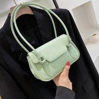 Shoulder Bags Small Underarm Bag Women 2021 Totes Soft Pu Leather Lady Solid Color Elegant Handbag Armpit Messenger Sac