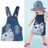 Малыш младенческий милый кот узор девушка платье детские дети девушки повседневные джинсовые джинсы комбинезон одежды