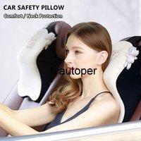Large Headrest Car Neck Pillow Set Memory Foam Auto Rear Seat Back Headrest Lumbar Supports Travel Car Head Restraint Cushion
