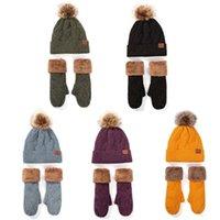 2 adet Kadın Kış Faux Polar Kaplı Sıcak Kablo Örgü Ponpon Beanie Şapka Eldiven Set H7EF
