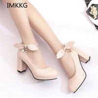 IMKKG новые летние женские туфли Мэри Джейн дамы высокие каблуки белые свадебные туфли толстые каблуки насосы леди обувь V107 210310