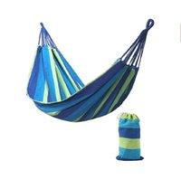 여행 캠핑 캔버스 해먹 야외 스윙 정원 실내 수면 레인보우 가방 침대가있는 스트라이프 단일 해먹