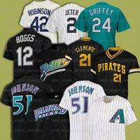 21 Roberto Clemente 51 Randy Johnson 42 Jackie Robinson 12 Wade Boggs Retro Men Mitchell Ness Baseball Jersey