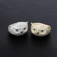 Oiseau glacé Owl Gold Bague Fashion Silver Hommes Stones Anneaux Hip Hop Bijoux