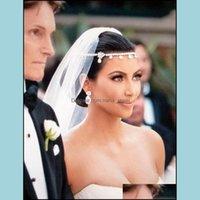 Headbands Jewelryczech Sparkly Crystal Women Forehead Headband Head Chain Headpiece Rhinestone Teardrop Tiara Vines Bridal Wedding Hair Jewe