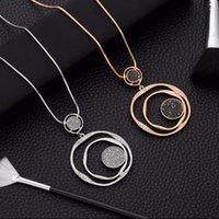 Pendentif Colliers Luxus Schwarz Kristall Annger Halskette Gold Pullover Kette Groen Kreis Runde Lange Frauen Schmuck Zubehr