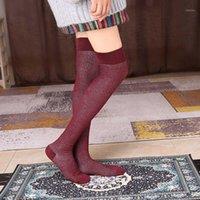 Calcetines deportivos Medias largas para mujer Algodón sobre rodilla yoga apretado para damas Otoño Danza de invierno Pilates muslo alto Socks1
