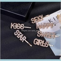 3Pcs Set Bling Crystal Rhinestone Letter Hairpins Headwear For Women Girls Hair Clips Pins Barrette Tools Hair Accessories Ins Hot I4M Deiz4
