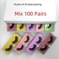 100 pairs a lot color bottom card false eyelashes 3d mink eyelash natural long fake lash hand made makeup faux cils m1-m10 styles 10 pair of each style packing