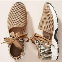 Rahat ayakkabılar 238Z rahat 2021 yaz yeni kadın düz alt spor lace up leopar tek ayakkabı 1hbs {kategori}