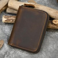 Wallets Men Crazy Horse Genuine Leather Coin Wallet Real Snap Short Purse Women Pocket Zip Around Small Trifold