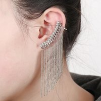 Clip-on & Screw Back Tasseled Ear Clip With Crystal Studs Earring Earcuff Pendientes Mujer Cuffs Piercing For Women Brincos