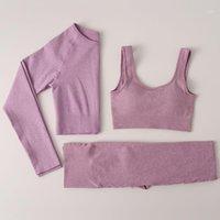 3 adet Yoga Set Dikişsiz Spor Sutyen + Uzun Kollu Kırpma Üst + Kadın Koşu Spor Tayt Yüksek Bel Fitness Spor Takım Elbise Egzersiz Giysileri1