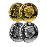 트럼프 2024 동전 기념 공예품 아메리카 다시 금속 배지 금과 은색