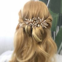 Hair Clips & Barrettes Handmade Wedding Comb Leaf Flower Bridal Headpiece Gold Silver Color Pearl Rhinestone Head Jewelry Accessories