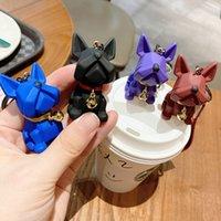 SH002 Silikon Çan Bulldog Köpek Tarzı Anahtarlıklar Reçine Kolye Yaratıcı Çift 3D Sevimli Anahtarlık Zinciri 4 Renkler