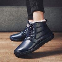 سميكة بو القطيفة الاستمرار الرجال الدافئة أحذية الثلوج مكافحة انزلاق أحذية جلدية الرجال مريح الشتاء أحذية الثلوج أحذية دائمة نعل سفلي 38EU #