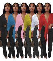 6 цветов горячие продажи 2021 женская топ-дизайнер V-образным вырезом женская весна и летнее многоцветное сексуальное нерегулярное сплошное цветное шнуруемая рубашка