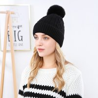 New women's wool in autumn winter pure color core spun yarn and ff ball warm knitted hat