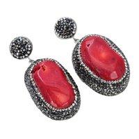 Guaiguai Schmuck rote Koralle mit Marcasit-Ohrringen handgefertigt für Frauen echte Edelsteine Stein Lady Fashion Jewellry