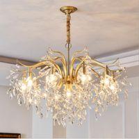2021 K9 Kristall Kronleuchter Gold Kronleuchter Beleuchtung Hang Lampe Cristal Lusterküche Küche Insel Party Lichter Indoor Light Fixtures