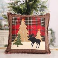 Christmas Throw Pillow Case Covers Buffalo Plaid Xmas Tree Reindeer Cushion Cases Home Sofa Decorations 36cm DWB10555