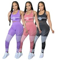 Women Tracksuits 2 piece set summer fall clothes sexy club t-shirt pants sportswear pullover sleeveless leggings outfits crop top vest bodycon bodysuits gym 01610