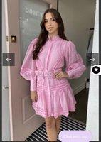 Australian ladies and celebrities style stand collar Lantern Sleeve long sleeve wood ear edge splicing with belt shirt short dress