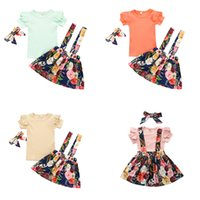 kids Clothing Sets girls flower outfits children ruffle Flying sleeve Tops+Floral print strap dress+headband 3pcs sets fashion summer baby Clothes Z3435