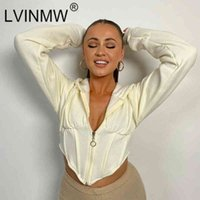 Women Hoodie Lvinmw Autumn Slim Drawstring Hooded Long Sleeve Top Zipper Fly Pure Color Irregular Short Sports Daily Casual Cardigans ARRF
