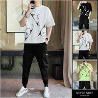 Men's Tracksuits Summer Mens Sets Short Sleeve Print Tracksuit Men Sportswear Casual 2 Pieces Set T-Shirt+trousers Male Clothes Slim Sports